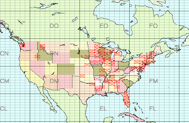 Map of grids worked by k2dbk